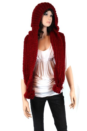 Fashion Dimensions Knitted Scoodie Scarf In Red