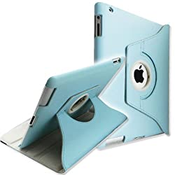 [Best price] Puzzles - 360 Degrees Rotating Stand (Blue) Leather Case for Apple iPad 2 2nd generation - toys-games