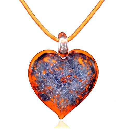 Pugster Murano Glass Orange Heart With Purple Pendant Necklace