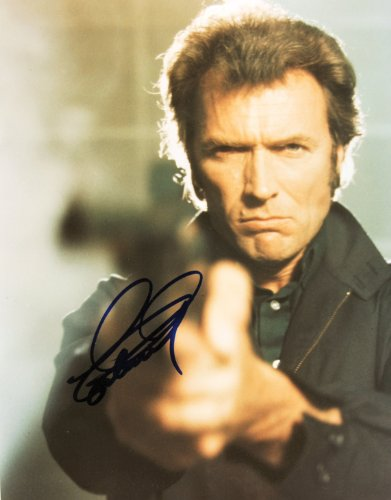 Clint Eastwood Autographed 8X10 Color Photo - Signed In Blue - Obtained In Person - From Magnum Force - As Dirty Harry - Oscar Winning Director - Unforgiven / Million Dollar Baby / Play Misty For Me - Out Of Print - Rare - Collectible front-1007939