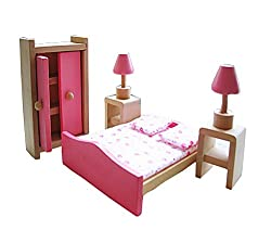 Cute Kids Colorful Play House Toys Set Wooden Assembling Bedroom Furniture Toys