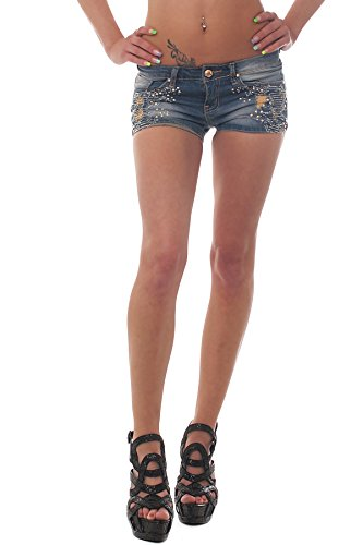 10061 Fashion4Young Damen Sexy Jeans Hotpants Short kurze Hose verfügbar in 5 Größen Dunkelblau