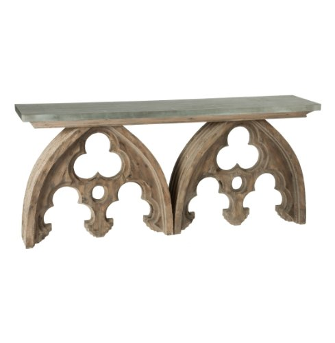 Cheap Gothic French Cathedral Arch Aged Wood Console Table Tin Top (F162)