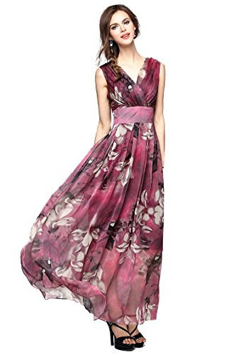Joy-EnvyLand-Women-V-neck-Flower-Prom-Party-Tunic-Long-Cocktail-Beach-Dress