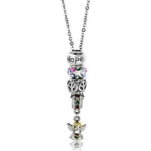 Pugster Rose Pink Swarovski Crystal Love Peace Angle Hope 18