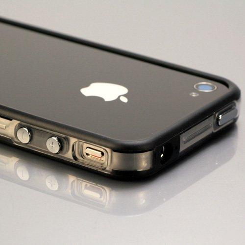 i-Beans 「全60色」iPhone 4 Mixed Plastic Bumper Case シリコン+ブラスチック バンパー 保護液晶フィルム USB充電ケーブル付 CLR/BLK(371-60)
