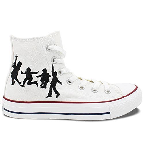 The Beatles White Converse All Star Shoes Hand Painted Customizable Unique Canvas Sneaker