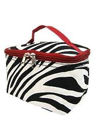 7 Zebra Print Cosmetic Womens Teens Travel School Makeup Brush Bag (Red Trim)