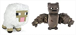 "Official Minecraft Overworld 7"" Plush Baby Sheep & Bat Figure SET of 2 by Minecraft"