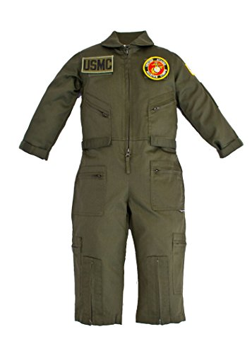 Kids Military Replica OD Green Flight Suit U.S.M.C. Patches XXL 11-12