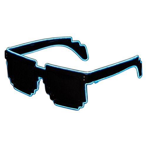 Raveanomics El Wire Aqua Blue LED Sunglasses – 8-Bit Retro Pixel
