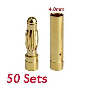 Vktech 50 Paar 4mm Bananenstecker Goldkontaktstecker (Büchse+Stecker) für Elektronik oder Modellbau