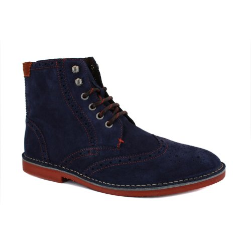 Ted Baker Tiplip 9-12762 Mens Laced Suede Brogue Ankle Boots Dark Blue - 12
