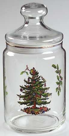 Spode Christmas Tree-Green Trim Glassware Storage Jar, Fine China Dinnerware