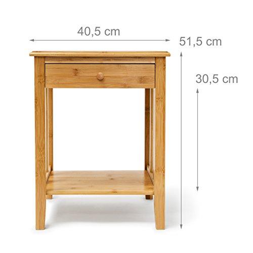 relaxdays bambus beistelltisch mit schublade h x b x t ca. Black Bedroom Furniture Sets. Home Design Ideas