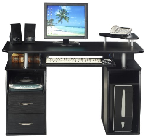 COMPUTER DESK HOME OFFICE FURNITURE PC TABLE BLACK - NEXT DAY DELIVERY