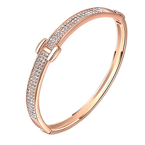 joyliveCY Elegant Hand Chain Charm Bracelet Women'S Jewelry Plated Bling 18K Rose Gold Special H Shaped