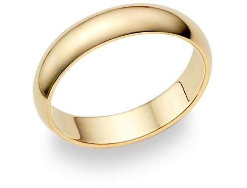 14K Gold 5mm Plain Wedding Band Ring