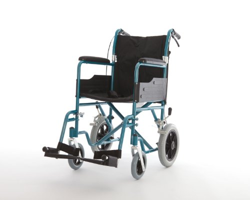 Aluminium Lightweight Folding Transit Wheelchair With Brakes In Blue FREE SIMPLATEX FITTED WHEELCHAIR CUSHION VALUE £20 FOR A LIMITED TIME