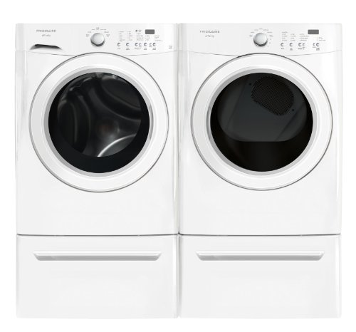 Frigidaire Affinity White 3.7 Cu. Ft. Front Load Washer & 7.0 Cu. Ft. Electric Steam Dryer Laundry Set With Pedestals Fafw3921Nw_Fase7021Nw_Cfpwd15W