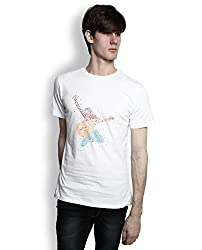 TOMO Men's Cotton White Color Round Neck IROCK Printed T-shirt