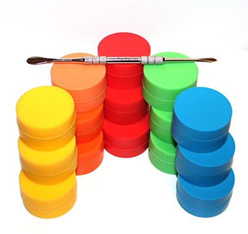 15 x Non-stick Storage Silicone Container Jar Matte outside & Shiny round inside food grade + TitanOwl Carving tool, non stick Heat resistant