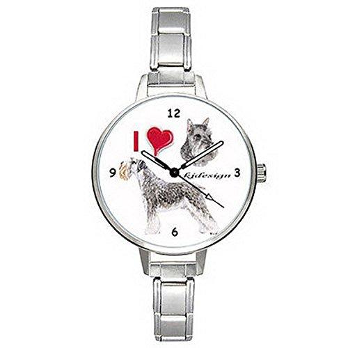 BMTC844 I Love Schnauzer Dog Mens Ladies Stainless Steel Italian Charm Wrist Watch (Schnauzer Italian Charm compare prices)