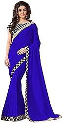 Harikrishna Fabrics Women's Chiffon Saree with Blouse Piece (Blue)