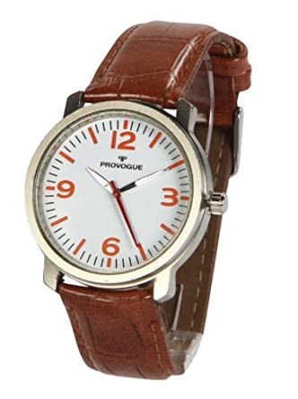 buy provogue classic analogue white dial watch for men stylish provogue classic analogue white dial watch for men stylish brown strap 104029 ea 028f