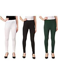 Svadhaa White Black Bottle Green Cotton Lycra Leggings(Pack Of 3)