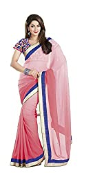 Ambica Border Work Saree with Blouse Piece (Pink)