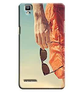 Blue Throat Man Hand With Glares Printed Designer Back Cover/Case For Oppo F1