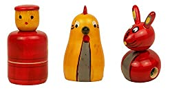 Christmas Gift / Christmas Sale Crafts'man Set of 3 Cute Colored Wooden Animal/Bird Shape Sharpener