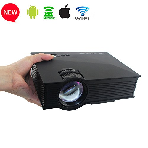 "Junpro Updated Mini Wifi LCD LED Home Theater Video Game Projector Max 130"" 1200 Lumens 800x480P with HDMI/VGA/USB/SD/AV Interface - Support Apple Android Airplay/Miracast/DLNA Wireless Connection"