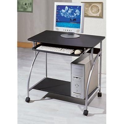 .com : Small Computer Cart on Wheels, Desk w/ Black Finish : Computer