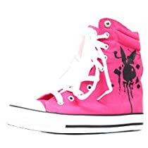 Playboy Bunny Womens High Top Sneakers Skate Shoes Pink Lace up Boots (6.5)
