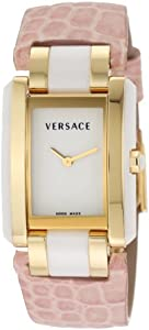Versace Women's 70Q70D001 S111 Era Gold Plated Ceramic Case Pink Embossed Lizard Strap Watch by Versace