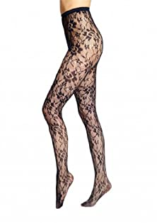 buy Lela Love Naughty Or Nice Floral Lace Pantyhose Moisturizing Fishnet Sexy Tights - Dark Blue