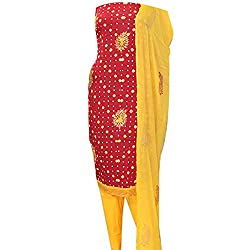 APKAMART Women Cotton Tie and Dye or Rajasthani Bandhej Red and Yellow - Unstitched Dress Material - 2.2 Meters