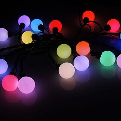 LED SopoTek 50 RGB Ball LED Color Changing with 16 Feet Linkable Ball String Christmas Xmas Flashing/Twinkle Lights(50Led RGB)
