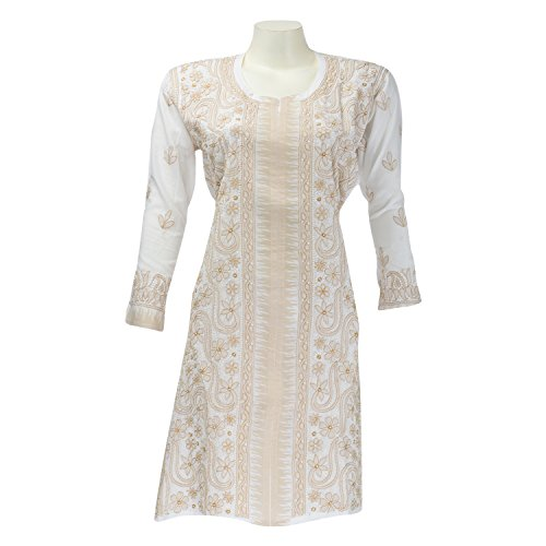 Imperial Chikan Women Cotton Chikankari Off-White Regular Fit Kurti - B00PZGKPYU