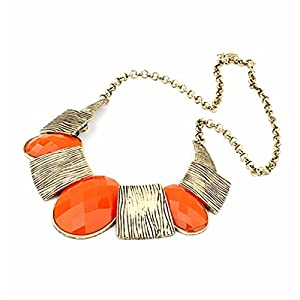 Vintage Geometric Stone Texture Metallic Chain Statement Necklace (Orange)