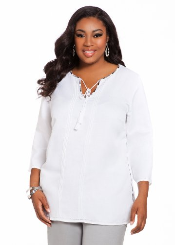 Ashley Stewart Women's Plus Size Linen Embroidered Drawstring Tunic