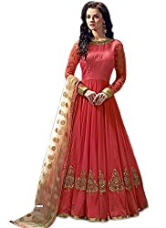 Clickedia Women Banglory Silk Embroidered Long Peach Salwaar Suit With Dupatta - Dress Material