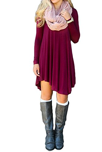 ReachMe Womens Long Sleeve Casual Loose T-Shirt Dress Midi Tunics For Leggings(Burgundy,S) (Tunic Tops For Juniors compare prices)