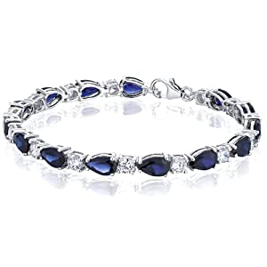 Perfect Allure: Pear Shape Blue Sapphire & White CZ Bracelet in Sterling Silver Rhodium Finish