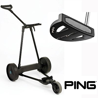 New! Emotion E3 23Lbs Pull Push Electric Motorized 3-Wheel Golf Cart Trolley + New! Ping Scottsdale Tr Grayhawk Putter