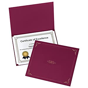 Oxford Certificate Holders, Letter Size, Burgundy, 5 per Pack (29900585BGD)