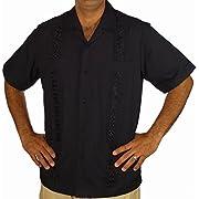 Embroidered cotton blend guayabera color Black.
