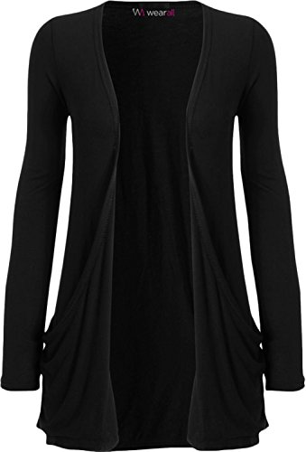 WearAll - Ladies Long Sleeve Pocket Cardigan Womens Top - Black - 20 / 22